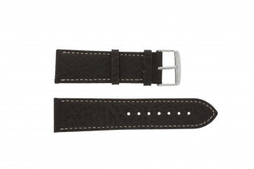 Watch strap 307.02 Leather Brown 20mm + white stitching