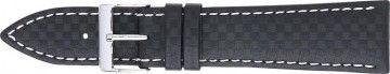 Watch strap 321.01 Carbon Black 20mm + white stitching