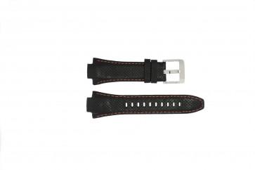 Seiko watch strap 7L22-0AE0 / SNL017P1 / 4KG8JZ /SNL021P9 Leather Black 15mm + orange stitching