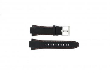 Seiko watch strap 7T62-0ED0 / H023 00C0 / SNJ007P  Leather Black 15mm + orange stitching