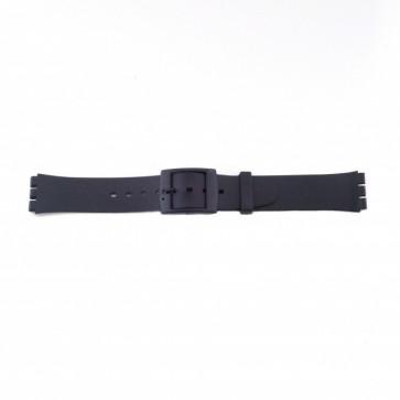 Swatch (vervangend) watch strap PVK P51 Rubber / Plastic Black 17mm
