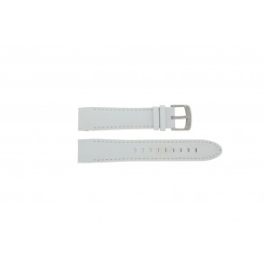 Police watch strap 12898JS-02A Leather White 22mm + white stitching
