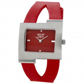 Watch strap Davis BB1404 Leather Red 10mm