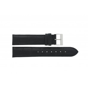 Edox watch strap 27028-2 (Staal) Leather Black 17mm + default stitching