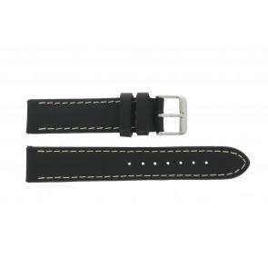 Watch strap 61330.10.22XL Leather Black 22mm + brown stitching
