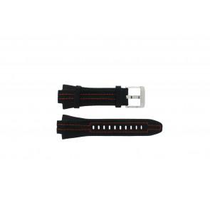 Seiko watch strap 7L22-0AD0 Leather Black 15mm + orange stitching