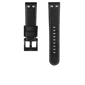TW Steel watch strap CEB107 Leather Black 22mm + white stitching