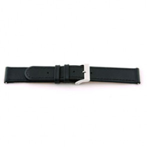 Genuine leather watch band 20mm black with stitching EX-J46