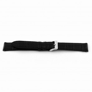 Watch strap EX-D015 Leather Black 14mm + black stitching