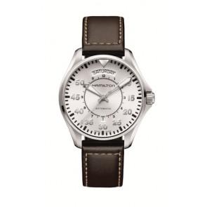 Watch strap Hamilton H64615555 Leather Dark brown 20mm