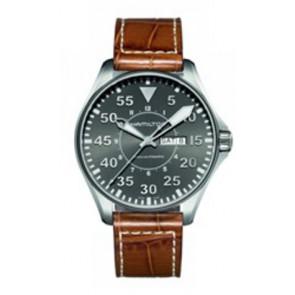 Watch strap Hamilton H64715885 Leather Cognac 22mm