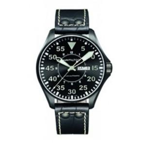 Watch strap Hamilton H64785835 Leather Black 22mm