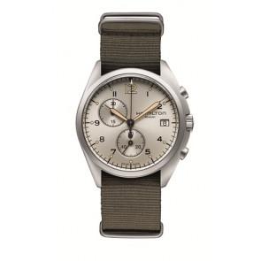 Watch strap Hamilton H76552955 Textiles Taupe 22mm