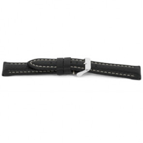 Watch strap I018 XL Leather Black 24mm + white stitching