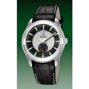 Jaguar watch strap J617-3-LED Leather Black + white stitching