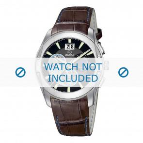 Jaguar watch strap J615-4 Croco leather Brown 22mm + blue stitching