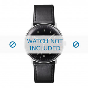 Junghans watch strap 027/3400.00 Leather Black 20mm + standard stitching