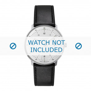 Junghans watch strap 027/4700.00 Leather Black 20mm + standard stitching
