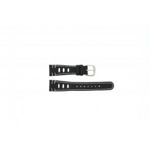 Lorus watch strap 19x14 Leather Black 19mm + white stitching
