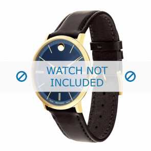 Movado watch strap 0607088 Leather Dark brown 20mm + standard stitching