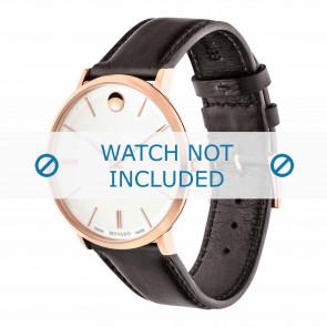 Movado watch strap 0607089 Leather Dark brown 20mm + standard stitching