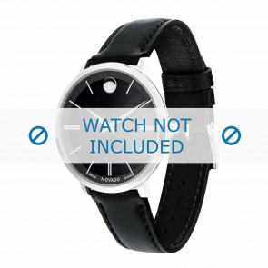 Movado watch strap 0607090 Leather Black 16mm + standard stitching