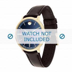 Movado watch strap 0607092 Leather Dark brown 16mm + standard stitching