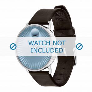 Movado watch strap 3680040 Leather Dark brown 20mm