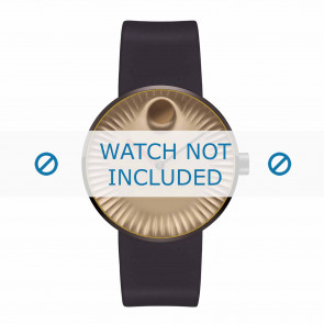 Movado watch strap 3680043 Silicone Dark brown 22mm