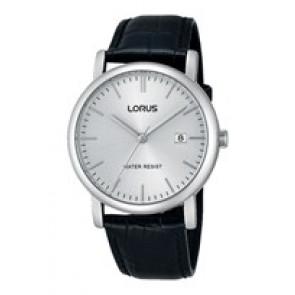 Lorus watch strap RG839CX9 / VJ32 X246 / RHG008X Leather Black 20mm + black stitching
