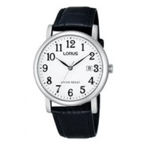 Lorus watch strap VJ32 X246 Leather Black 20mm + black stitching