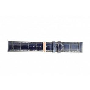 Genuine leather watch strap croco dark blue 30mm 61324