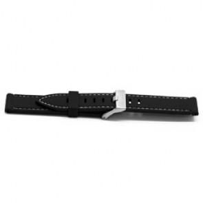 Watch strap Rubber 22mm Black + white stitching EX XH18