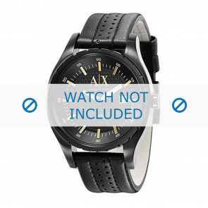 Armani watch strap AX1091 Leather Black 22mm + black stitching