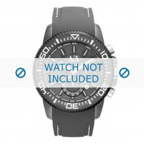 Armani watch strap AX1202 Rubber / plastic Grey + white stitching
