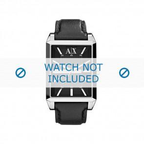 Armani watch strap AX-2113 Leather Black 24mm + black stitching