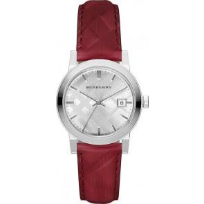 Watch strap Burberry bu9152 Leather Red
