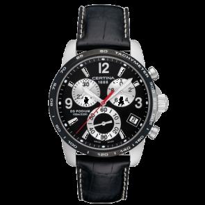 Certina watch strap C610007731 / C536.7029.42.65 XL Leather Black 20mm + white stitching