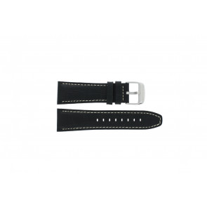 Lotus watch strap 15536 Leather Black 26mm + white stitching