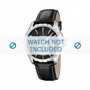 Festina watch strap F16486/1 Leather Black 23mm + white stitching