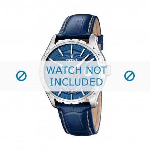 Festina watch strap F16486/6 Leather Blue 23mm + white stitching