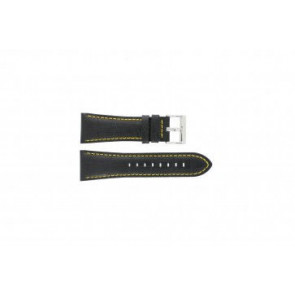 Festina watch strap F16235/7 Leather Black 28mm + yellow stitching