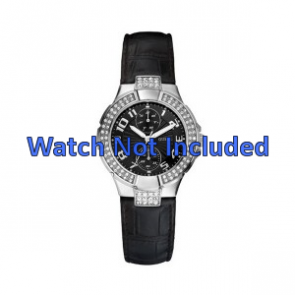 Guess watch strap W11607L2 Leather Black 19mm