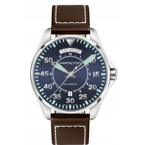 Watch strap Hamilton H64615545 Leather Dark brown 20mm