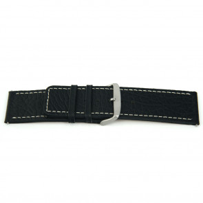 Genuine leather watch band black with white stitching 22mm EX-H79