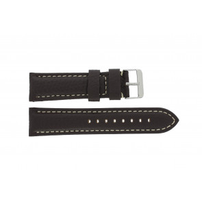 Watch strap I038 XL Leather Dark brown 24mm + white stitching