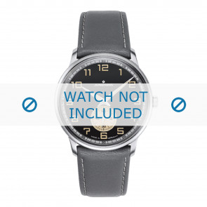 Junghans watch strap 027/3607.00 Leather Grey 20mm + white stitching