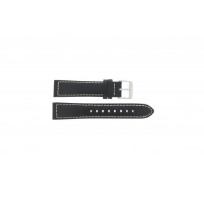 Max watch strap Z22 Leather Black 22mm + white stitching