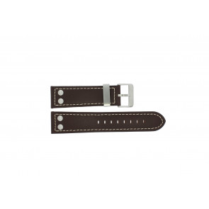 Dutch Forces watch strap 35C010202 Leather Brown 24mm + white stitching