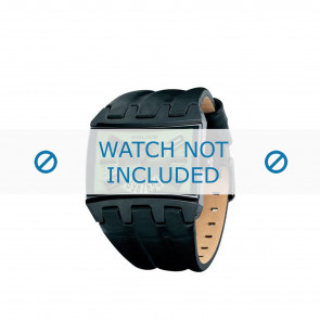 Police watch strap PL-12079JSB-05A Leather Black 36mm + brown stitching
